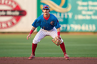 Clearwater Threshers second baseman Casey Martin (8) during a game against the Dunedin Blue Jays on May 18, 2021 at BayCare Ballpark in Clearwater, Florida.  (Mike Janes/Four Seam Images)