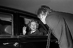 Margaret Thatcher campaigning for the 1979 General Election in Northampton.  Meeting local Conservative Association Northampton South.  Tory MP Michael Morris who is now Baron Naseby of Sandy they say their goodbyes.