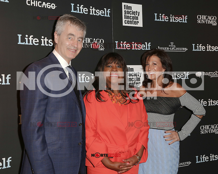 New York, NY - June 23 : Steve James, Chaz Ebert and Marlene Iglitzen  attend the New York Premiere of Life Itself<br /> held at the Film Society of Lincoln Center Walter Reade Theater<br /> on June 23, 2014 in New York City. Photo by Brent N. Clarke / Starlitepics