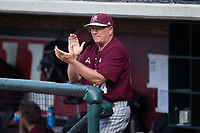 Bellarmine Knights head coach Larry Owens (24) encourages his team from the dugout during the game against the Liberty Flames at Liberty Baseball Stadium on March 9, 2021 in Lynchburg, VA. (Brian Westerholt/Four Seam Images)