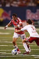 Chicago Fire forward (10) Cuauhtemoc Blanco is marked by New York Red Bulls midfielder (14) Joe Vide during an MLS regular season match between the New York Red Bulls and the Chicago Fire at Giants Stadium, East Rutherford, NJ, on September 1, 2007.