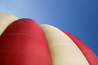 Top of the balloon's nylon envelope after inflation, British School of ballooning, Ebernoe, West Sussex.