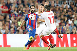 FC Barcelona's Arda Turan (l) and Sevilla FC's Diego Gonzalez (c) and Pablo Sarabia during Supercup of Spain 2nd match.August 17,2016. (ALTERPHOTOS/Acero)