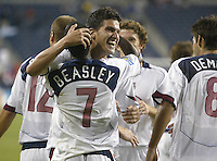 7 July 2005:  Santino Quaranta of USA celebrates with DaMarcus Beasley of USA after Beasley scored a goal during the second half against Cuba during CONCACAF Gold Cup at Qwest Stadium in Seattle, Washington.    USA defeated Cuba, 4-1.   Credit: Michael Pimentel / ISI
