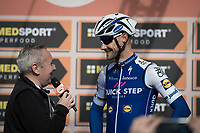 Tom Boonen (BEL/Quick-Step Floors) being interviewed at the race start in Milano for the 108th Milano - Sanremo 2017