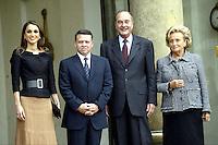 Jacques & Bernadette Chirac ont reÁu le roi Abdllah de Jordanie & son Èpouse Rania au Palais de l' ÈlysÈe. #