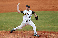Iowa Hawkeyes pitcher Ryam Rumpf #19 delivers a pitch during a game against the Illinois State Redbirds at Chain of Lakes Stadium on March 11, 2012 in Winter Haven, Florida.  Illinois State defeated Iowa 10-6.  (Mike Janes/Four Seam Images)