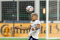 FOXBOROUGH, MA - APRIL 24: Antonio Alfaro #93 of D.C. United heads the ball during a game between D.C. United and New England Revolution at Gillette Stadium on April 24, 2021 in Foxborough, Massachusetts.
