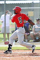 Matthew McPhearson, #5 of Riverdale Baptist High School, Maryland playing for the Marucci Elite during the WWBA World Champsionship 2012 at the Roger Dean Complex on October 27, 2012 in Jupiter, Florida. (Stacy Jo Grant/Four Seam Images)..