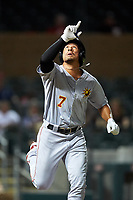 Mesa Solar Sox Jahmai Jones (7), of the Los Angeles Angels organization, points to the sky after drawing a walk during an Arizona Fall League game against the Salt River Rafters on September 27, 2019 at Salt River Fields at Talking Stick in Scottsdale, Arizona. Salt River defeated Mesa 6-1. (Zachary Lucy/Four Seam Images)