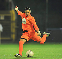 20130913 - ANTWERPEN , BELGIUM : Gent's Nicky Evrard pictured during the female soccer match between Royal Antwerp FC Vrouwen / Ladies and K AA Gent Ladies at the BOSUIL STADIUM , of the fourth matchday in the BENELEAGUE competition. Friday 13 September 2013. PHOTO DAVID CATRY