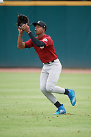 Braylon Bishop (2) of Arkansas High School in Texarkana, AR during the Perfect Game National Showcase at Hoover Metropolitan Stadium on June 17, 2020 in Hoover, Alabama. (Mike Janes/Four Seam Images)