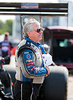 Aug 18, 2019; Brainerd, MN, USA; NHRA funny car driver John Force during the Lucas Oil Nationals at Brainerd International Raceway. Mandatory Credit: Mark J. Rebilas-USA TODAY Sports