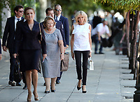 Pictured: The wives of the two Presidents Brigitte Macron (R)with Vlassia Pavlopoulou-Peltsemi (C) at the Presidential Mansion in Athens, Greece. Thurday 07 September 2017<br /> Re: The official welcome of French President Emmanuel Macron for his state visit to Athens, Greece.