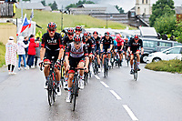 4th July 2021; Tignes, France;  TEAM UAE during stage 9 of the 108th edition of the 2021 Tour de France cycling race, a stage of 144,9 kms between Cluses and Tignes on July 4