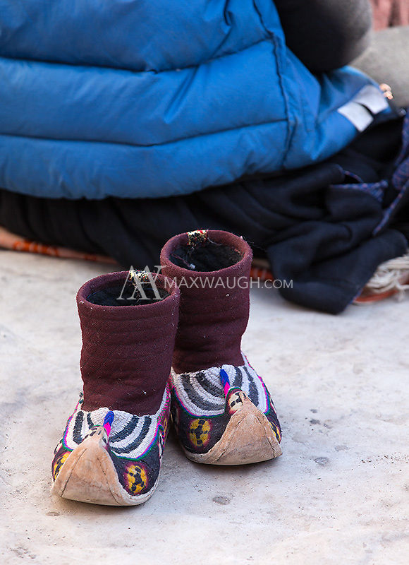 Shoes are discarded during a prayer session.