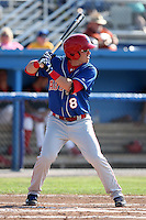Auburn Doubledays first baseman Roberto Perez #8 during a game against the Batavia Muckdogs at Dwyer Stadium on July 17, 2011 in Batavia, New York.  Batavia defeated Auburn 8-3.  (Mike Janes/Four Seam Images)