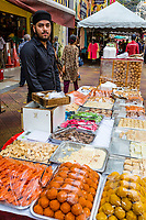 Sidewalk Vendor of Candy, Pastries, and Sweets, Brickfields, Little India, Kuala Lumpur, Malaysia.
