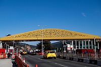 2021 03 08 Golden bridge over Oystermouth Road in Swansea, Wales, UK.
