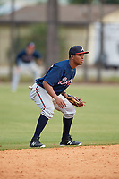 Atlanta Braves Luis Valenzuela (69) during a Minor League Spring Training game against the Detroit Tigers on March 19, 2018 at the TigerTown Complex in Lakeland, Florida.  (Mike Janes/Four Seam Images)