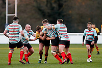 Tom Baldwin of Blackheath Rugby meets with resistance during the English National League match between Richmond and Blackheath  at Richmond Athletic Ground, Richmond, United Kingdom on 4 January 2020. Photo by Carlton Myrie.