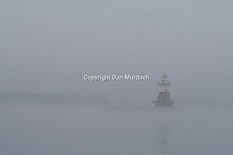 Green's Ledge lighthouse in the fog