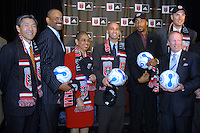Presentation of DC United Holdings, as the new group that owns and controls the operating rights for DC United of Major League Soccer, January 8, 2007. From left to right William H.C. Chang, Victor MacFarlane, Congresswoman Eleonor Holmes Norton, District of Columbia Mayor Adrian Fenty, Brian Davis, Christian Laettner and DC United CEO Kevin Payne.