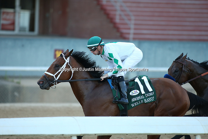 May 2, 2020: Wells Bayou (11) with jockey Florent Geroux aboard during the 2nd division of the Arkansas Derby at Oaklawn Racing Casino Resort in Hot Springs, Arkansas on May 2, 2020. Justin Manning/Eclipse Sportswire/CSM