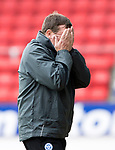 St Johnstone v Hartlepool…22.07.17… McDiarmid Park… Pre-Season Friendly<br />Tommy Wright turns away in disgust after his team concede possession<br />Picture by Graeme Hart.<br />Copyright Perthshire Picture Agency<br />Tel: 01738 623350  Mobile: 07990 594431