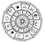 Illustration of Zodiac signs on white background