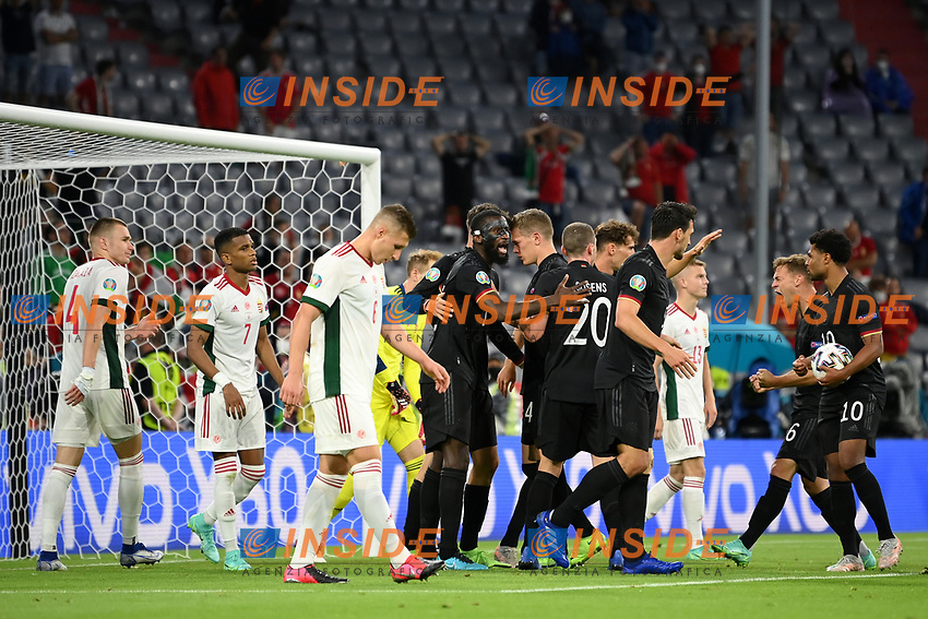 MUNICH, GERMANY - JUNE 23: Kai Havertz of Germany (obscured) celebrates with team mates after scoring their side's first goal during the UEFA Euro 2020 Championship Group F match between Germany and Hungary at Allianz Arena on June 23, 2021 in Munich, Germany. (Photo by Sebastian Widmann - UEFA/UEFA via Getty Images)<br /> Photo Uefa/Insidefoto ITA ONLY