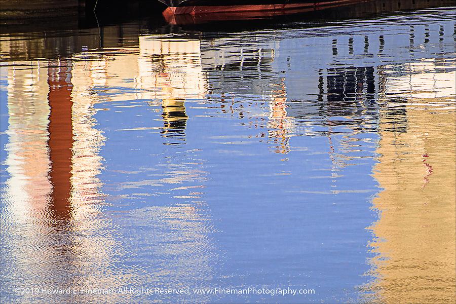 Oslo harbor reflections near the Opera House