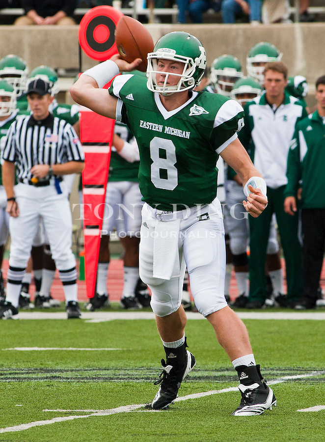 Eastern Michigan quarterback Alex Gillett (8) throws a pass in the first quarter of an NCAA college football game with Central Michigan, Saturday, Sept. 18, 2010, in Ypsilanti, Mich. (AP Photo/Tony Ding)