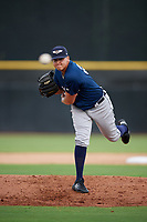 Lakeland Flying Tigers relief pitcher Eudis Idrogo (26) delivers a pitch during a game against the Dunedin Blue Jays on July 31, 2018 at Dunedin Stadium in Dunedin, Florida.  Dunedin defeated Lakeland 8-0.  (Mike Janes/Four Seam Images)