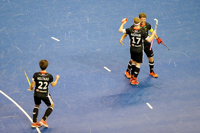 Berlin, Germany, February 10: During the FIH Indoor Hockey World Cup semi-final match between Germany (black) and Iran (white) on February 10, 2018 at Max-Schmeling-Halle in Berlin, Germany. Final score 6-2. (Photo by Dirk Markgraf / www.265-images.com) *** Local caption *** Martin HAENER #6 of Germany celebrates after scoring, Christopher RUEHR #17 of Germany