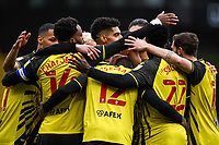 20th March 2021; Vicarage Road, Watford, Hertfordshire, England; English Football League Championship Football, Watford versus Birmingham City; Ken Sema of Watford scores the opening goal and celebrates with team mates.