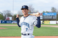 Lake County Captains shortstop Tyler Freeman (7) poses for a photo before a Midwest League game against the Beloit Snappers at Harry C. Pohlman Field on May 6, 2019 in Beloit, Wisconsin. (Zachary Lucy/Four Seam Images)