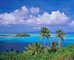 Bora Bora, French Polynesia<br /> Motu Piti in the blue tropical waters of Bora Bora Lagoon