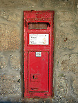 Red Letter Box, St Michael's Mount, Marazion, Cornwall, UK