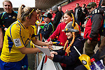 Doncaster Rovers Belles 1 Chelsea Ladies 4, 20/03/2016. Keepmoat Stadium, Womens FA Cup. Sophie Barker of Doncaster Rovers Belles signing autographs after the match. Photo by Paul Thompson.