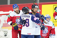 29th May 2021; Olympic Sports Centre, Riga, Latvia; IIHF World Championship Ice Hockey, Czech Republic versus Great Britain;  8 Matthew Myers Great Britain opens the scoring for Great Britain and celebrates with 19 Luke Ferrara Great Britain 4-1