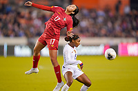 HOUSTON, TX - JANUARY 31: Gariela Elizabeth #17 of Panama and Crystal Dunn #19 of the United States battle for a ball during a game between Panama and USWNT at BBVA Stadium on January 31, 2020 in Houston, Texas.