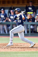 Pittsburgh Panthers right fielder Ron Washington Jr. (23) swings at a pitch during a game against the North Carolina Tar Heels at Boshamer Stadium on March 17, 2018 in Chapel Hill, North Carolina. The Tar Heels defeated the Panthers 4-0. (Tony Farlow/Four Seam Images)