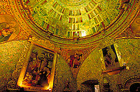 South America ; travel ; church ; cathedral ; La Compania interior ; Frescos ;. Arequipa, Peru.