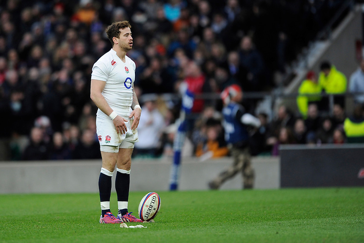 Danny Cipriani of England takes a moment to compose himself before converting his own try just moments after coming onto the pitch as a substitute during the RBS 6 Nations match between England and Italy at Twickenham Stadium on Saturday 14th February 2015 (Photo by Rob Munro)