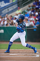 Ogden Raptors left fielder Daniel Robinson (50) at bat during a Pioneer League game against the Billings Mustangs at Lindquist Field on August 17, 2018 in Ogden, Utah. The Billings Mustangs defeated the Ogden Raptors by a score of 6-3. (Zachary Lucy/Four Seam Images)