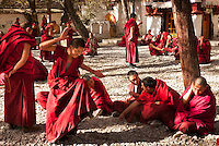 Debating monks at Sera monastary in Lhasa, Tibet