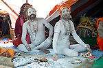 Naga Sadhus in their tent at Kumbh Mela Festival. Naga Sadhus, the naked Sadhus of India, attract a large number of people to their tents during the Kumbh Mela 2013 at Allahabad.