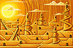 Illustrative image of puzzled steps with towers representing growth