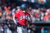 Gonzaga Bulldogs left fielder Isaac Barrera (17) hustles down the first base line during a game against the Oregon State Beavers on February 16, 2019 at Surprise Stadium in Surprise, Arizona. Oregon State defeated Gonzaga 9-3. (Zachary Lucy/Four Seam Images)